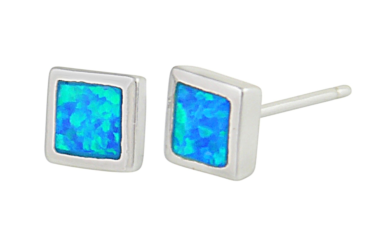 Small Square Blue Opal Stud Earrings | The Opal