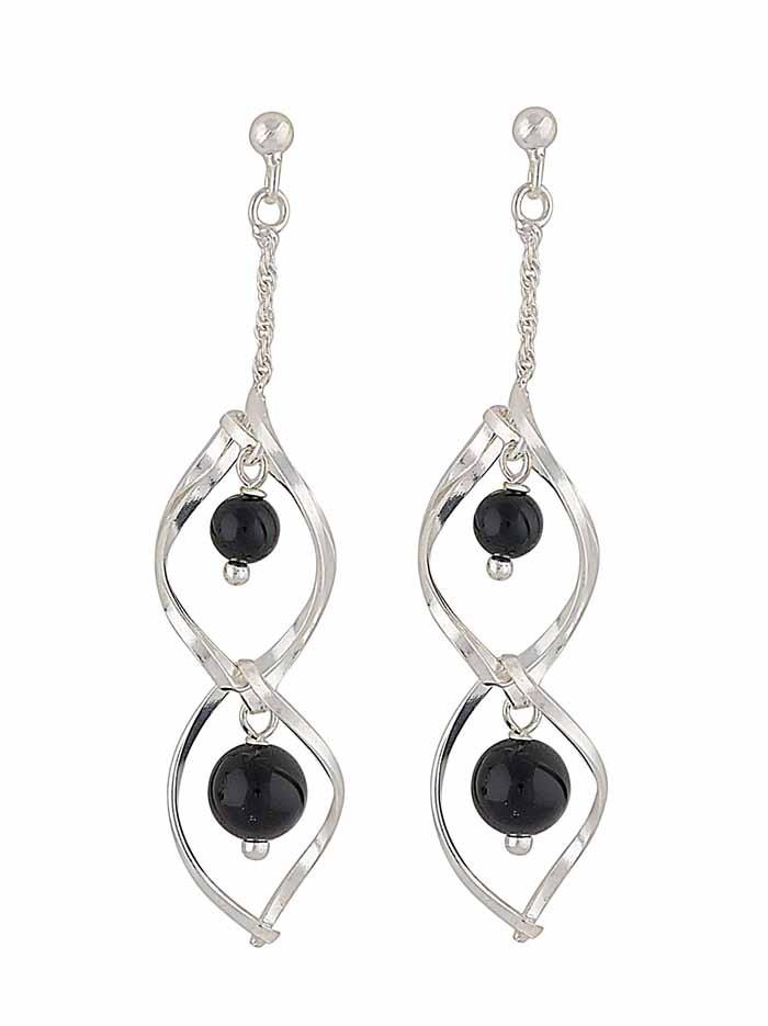 Black Onyx Silver Dangly Earrings