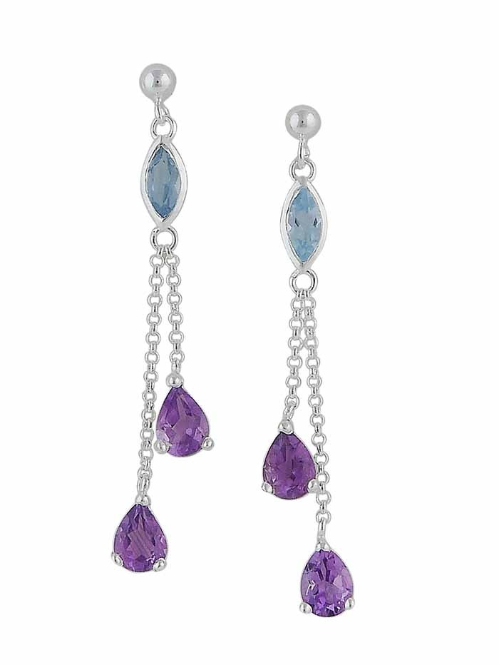 Blue Topaz and Amethyst Silver Drop Earrings