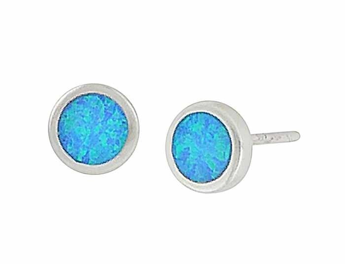 Blue Opal Disc Small Silver Stud Earrings - 6mm