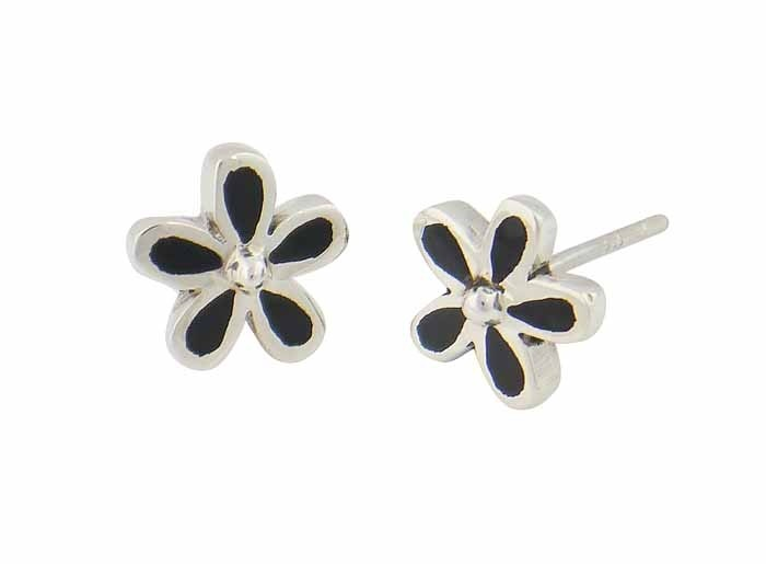 Black Onyx Plumeria Flower Stud Earrings