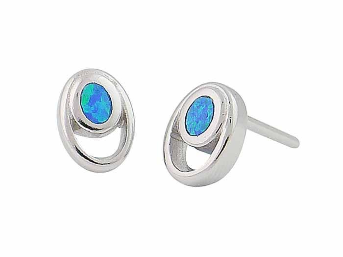 Blue Opal Oval Silver Stud Earrings