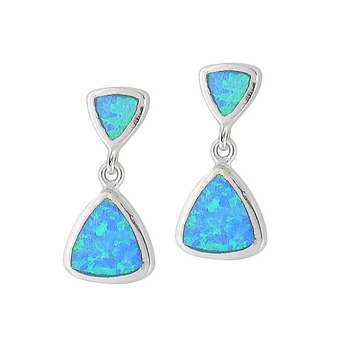 Geometry Design Blue Lab Opal Stud Earrings