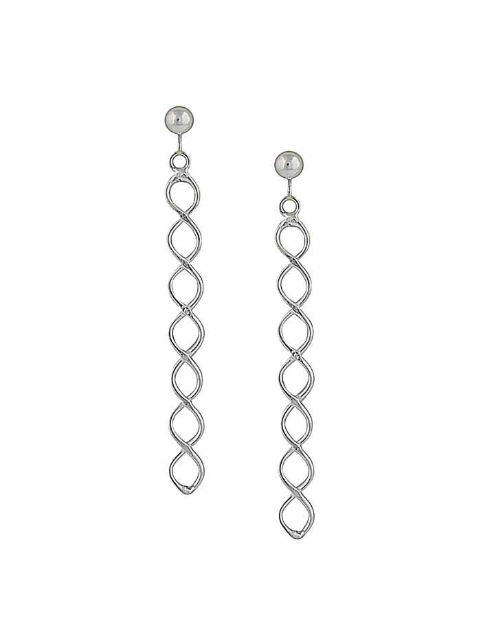Simple Twist Long Silver Earrings