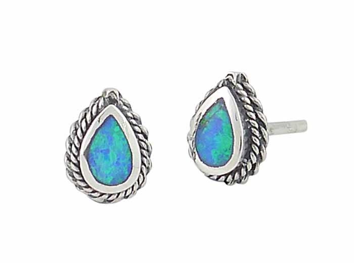 Blue Opal Teardrop Rope Edge Silver Stud Earrings