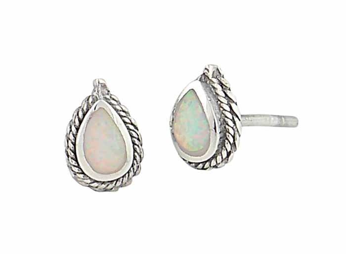White Opal Teardrop Rope Edge Silver Stud Earrings