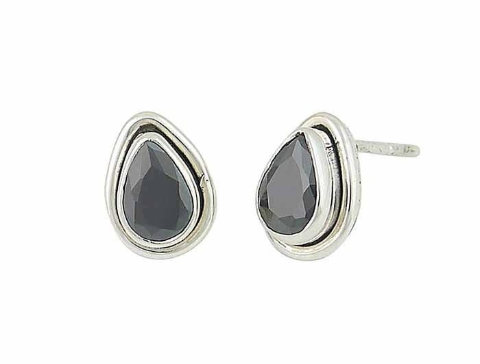 Step Design Black Onyx Teardrop Stud Earrings