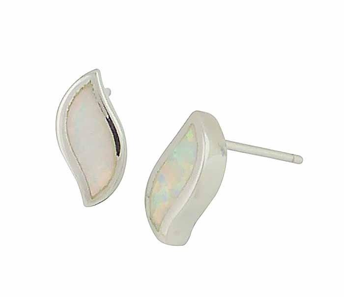 White Wave Opal Stud Earrings