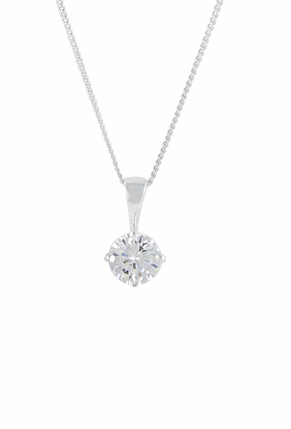 Single Cubic Zirconia Pendant Necklace