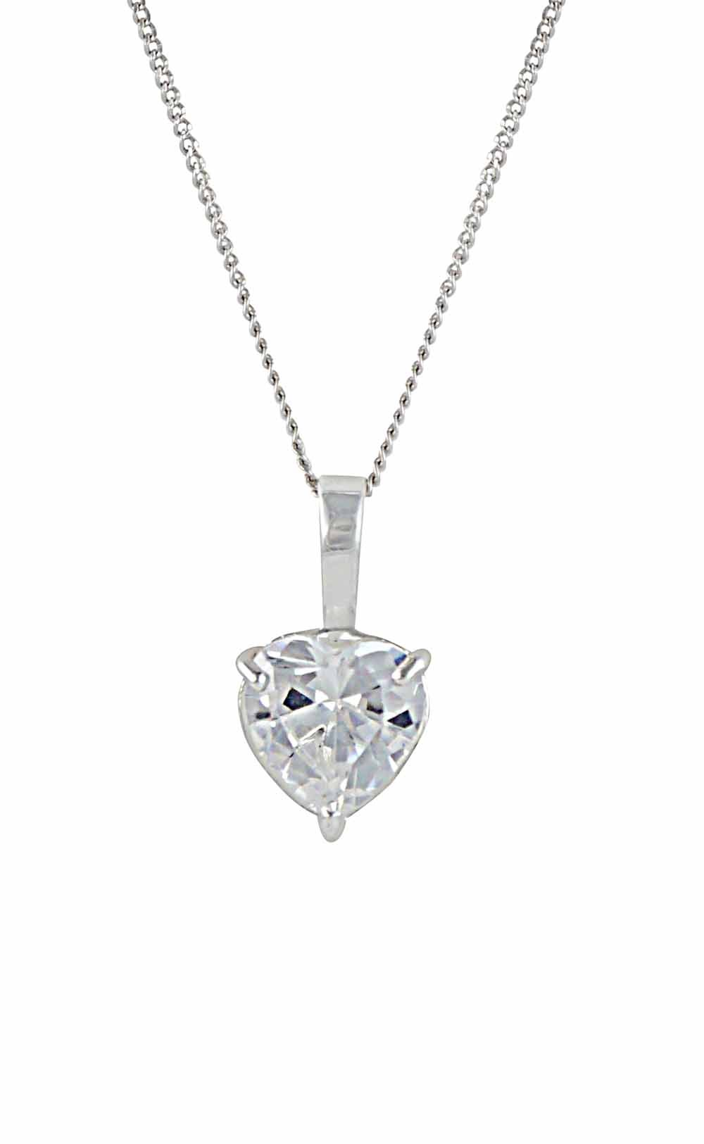 Cubic Zirconia Silver Heart Pendant | The Opal Jewellery