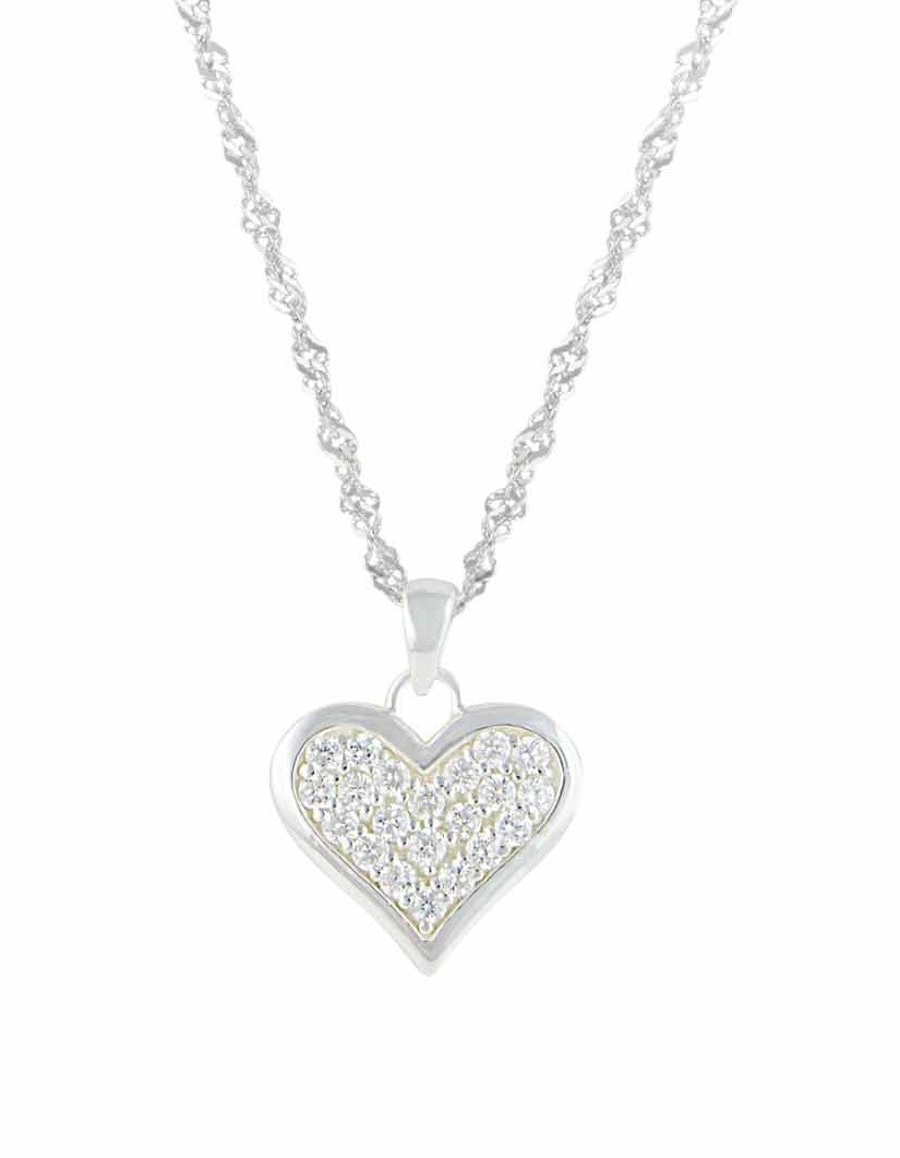 Sterling Silver Heart Necklace with CZ
