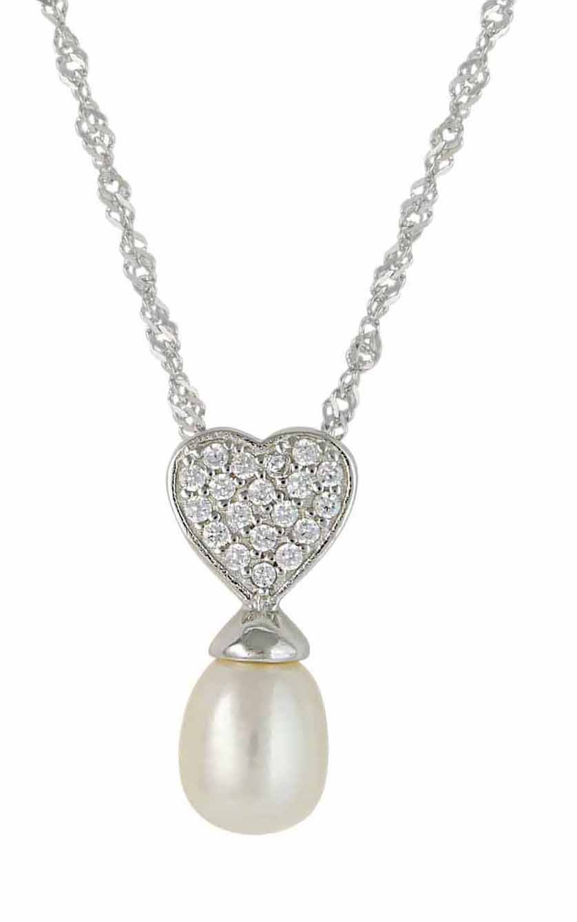 Freshwater Pearl and Silver Heart Necklace | The Opal UK