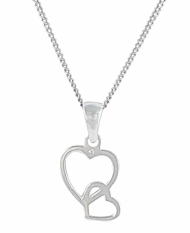 Interlinked Sterling Silver Heart Necklace