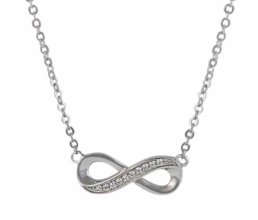 cubic zirconia and silver infinity necklace