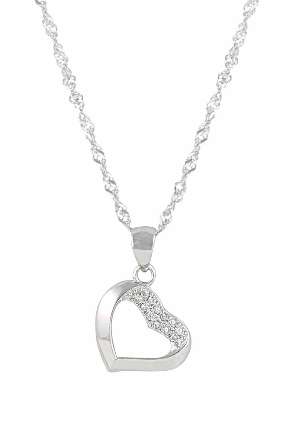 Open Sterling Silver Heart Necklace