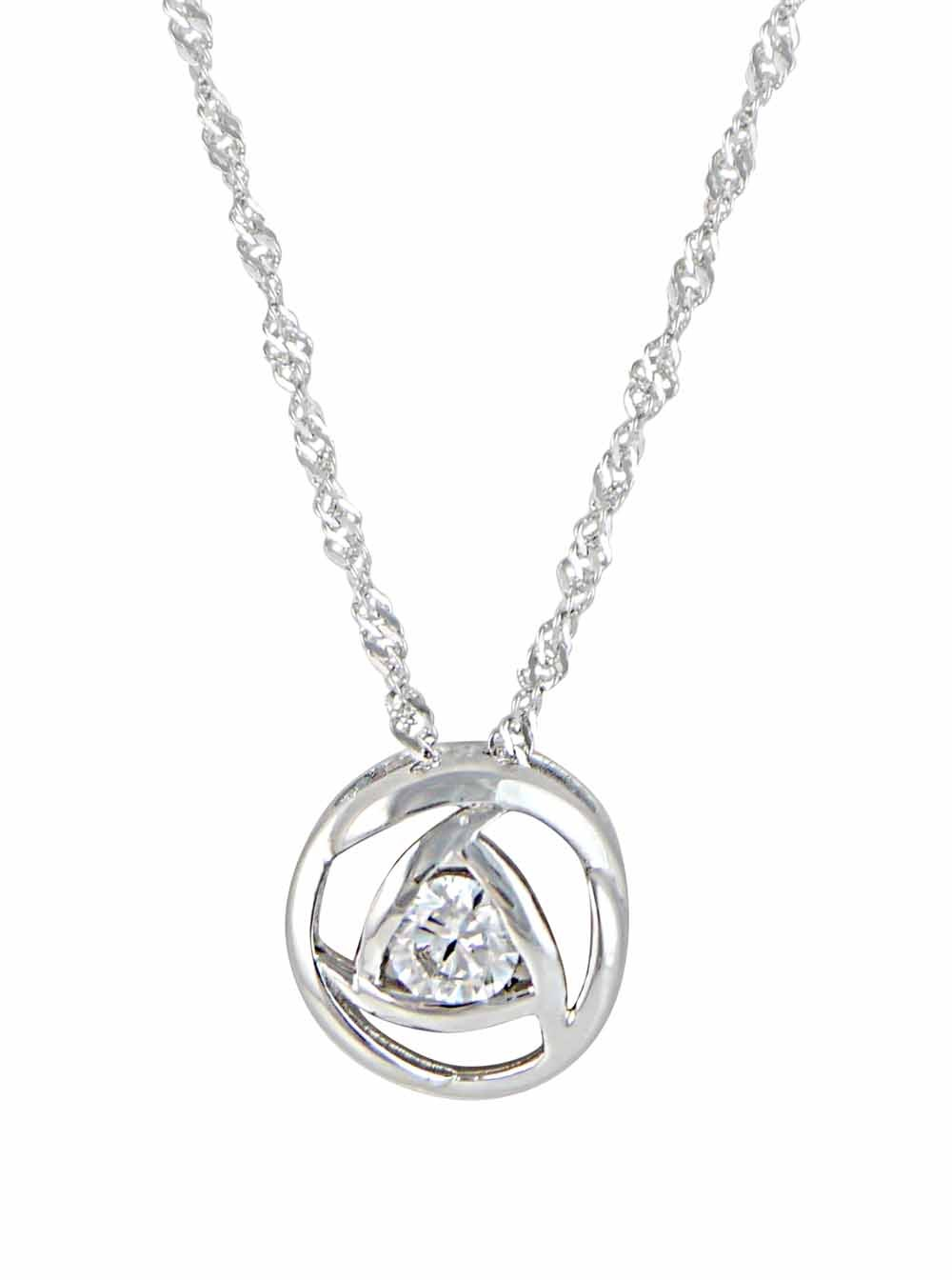 Cubic Zirconia and Circle Silver Necklace
