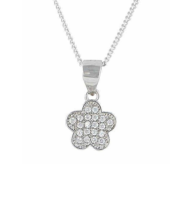 Flower and Cubic Zirconia Pendant Necklace