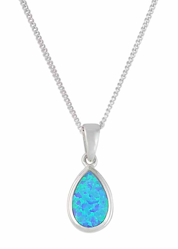 Blue Teardrop Stone Silver Pendant Necklace