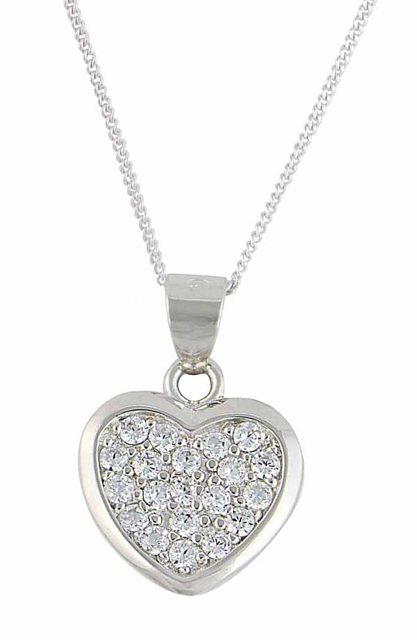 Rhodium Plated Sterling Silver Heart Necklace