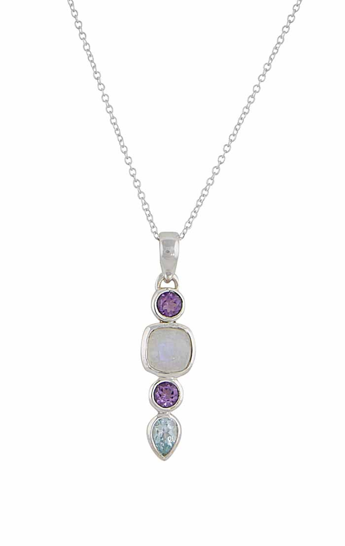 Blue Topaz Teardrop Pendant Necklace