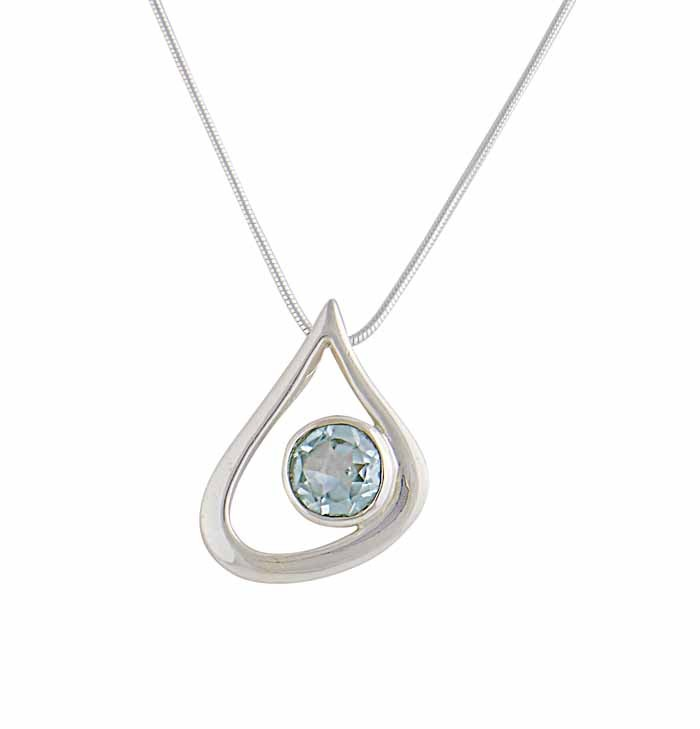 Teardrop and Blue Topaz Silver Pendant