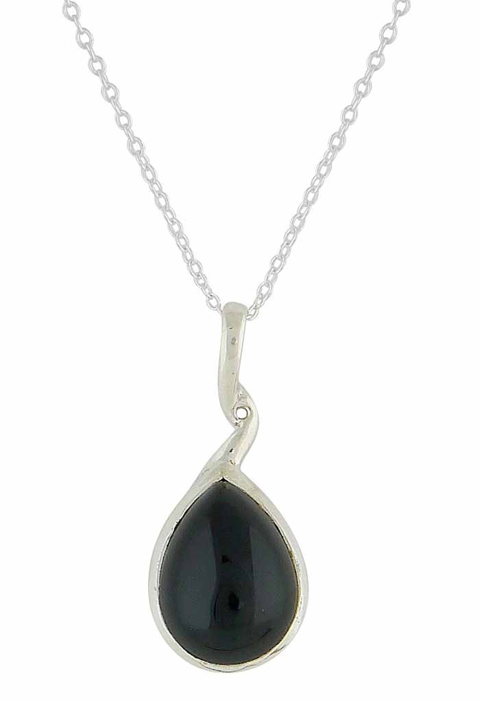 Twisted Stem Black Onyx Silver Pendant