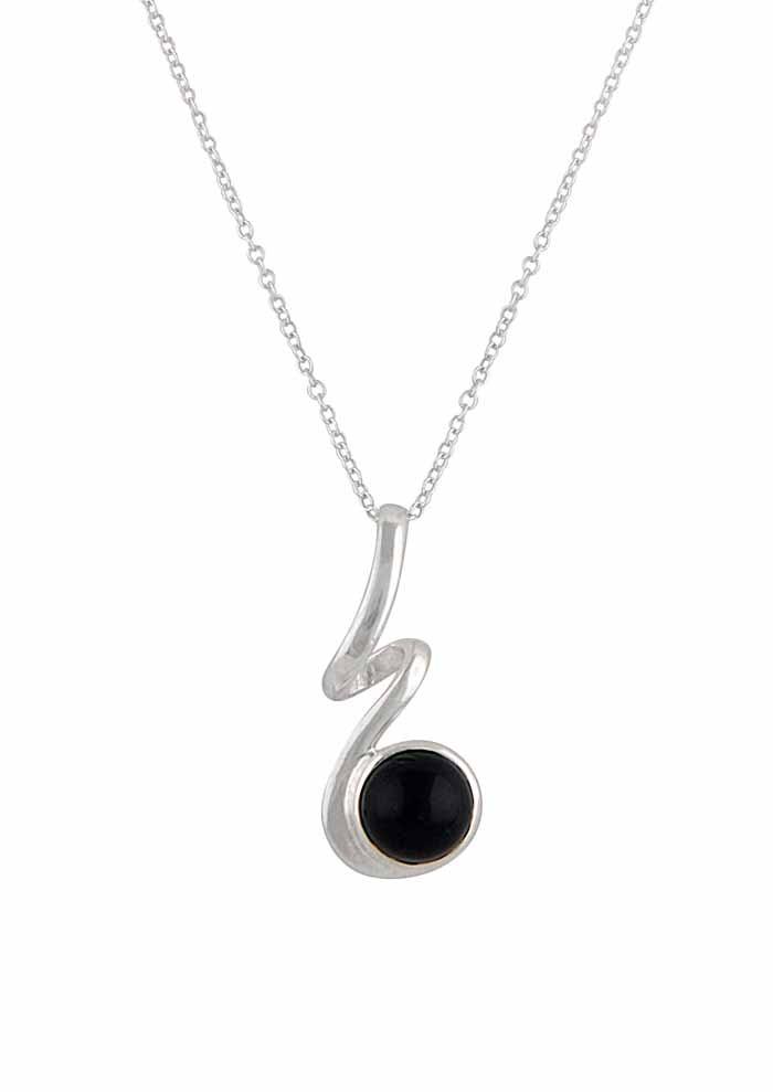 Silver Curly Black Onyx Pendant - Black Onyx Jewellery