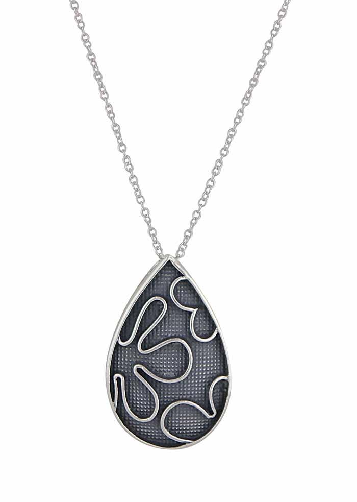 Flower Pattern Teardrop Silver Pendant