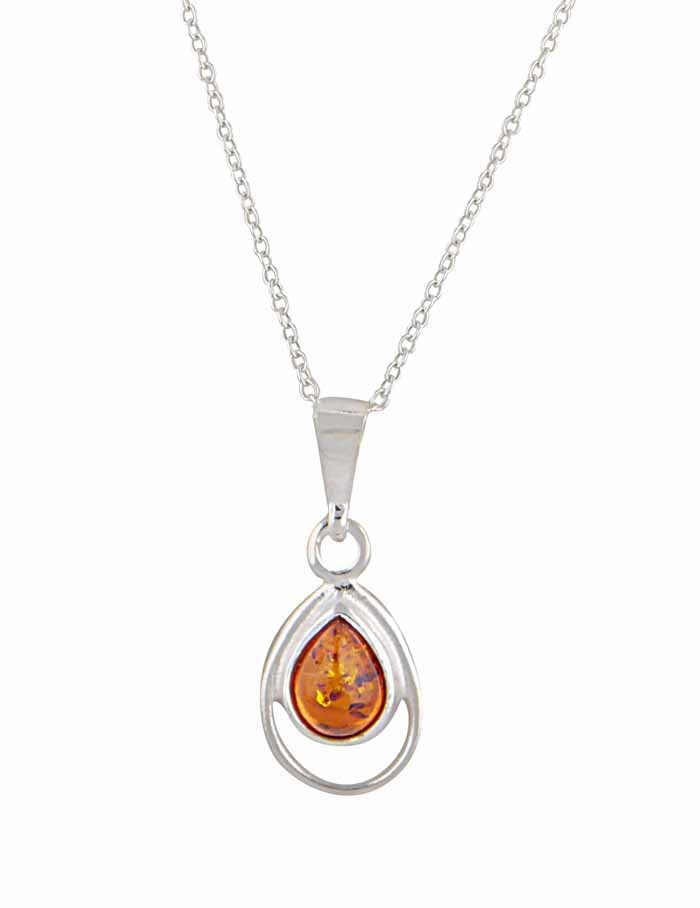 Teardrop Amber Pendant Necklace - Silver Amber Jewellery