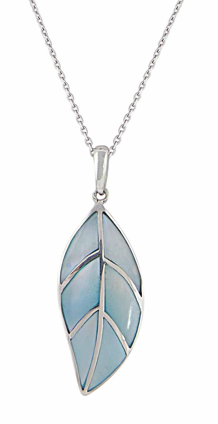 Mother of Pearl Silver Leaf Pendant
