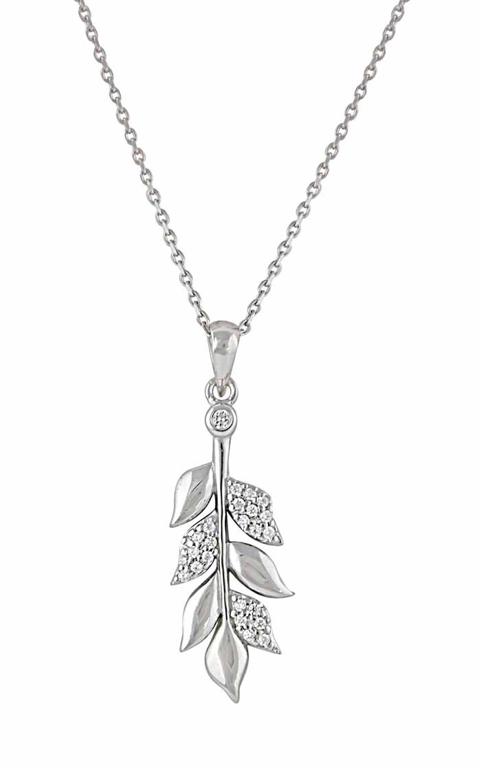 Branch Style Silver Leaf Necklace
