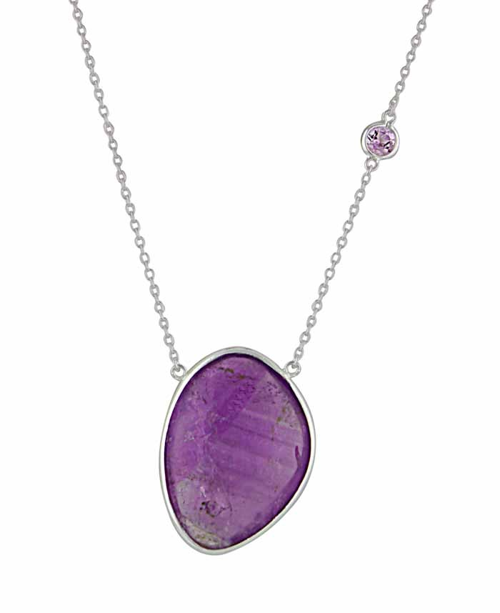 Silver Purple Amethyst Necklace - Amethyst Jewellery