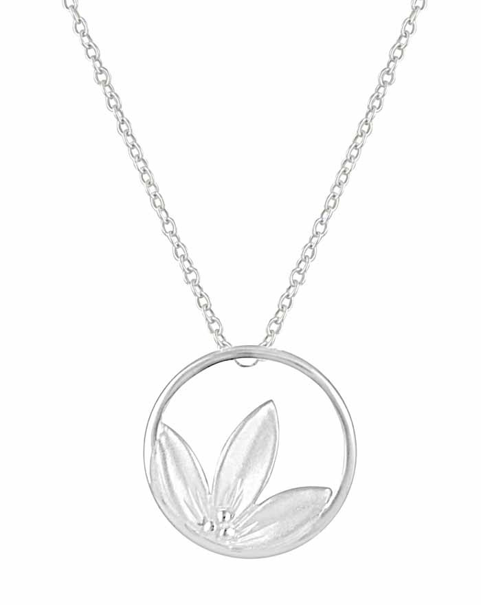 Circle and Flower Silver Necklace