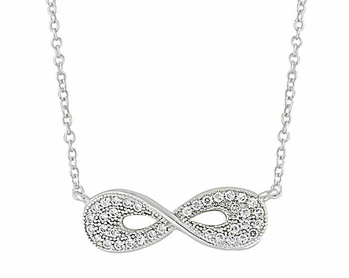 Cubic Zirconia Infinity Silver Necklace