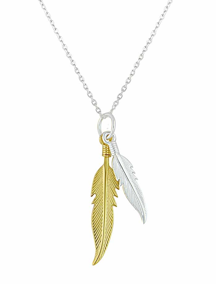 Two tone Silver Feather Pendant