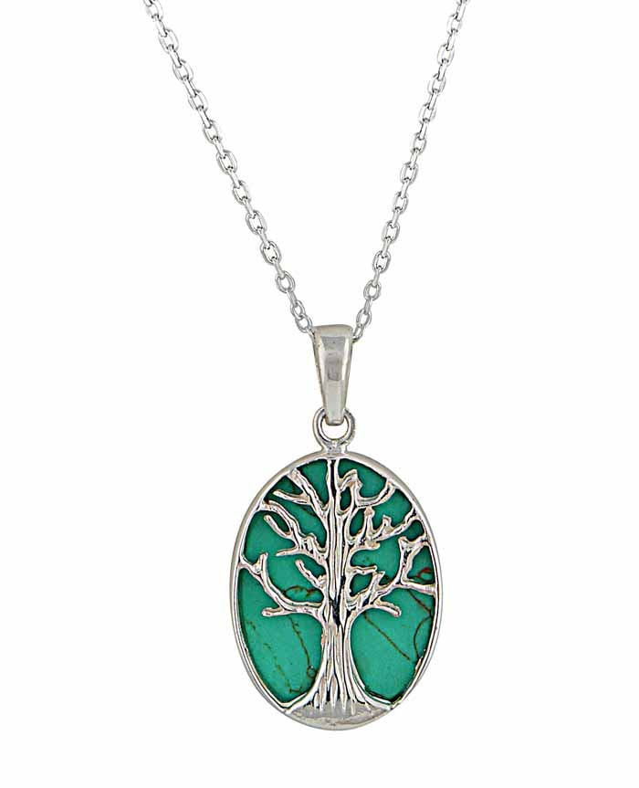 Tree of Life and Turquoise Silver Necklace