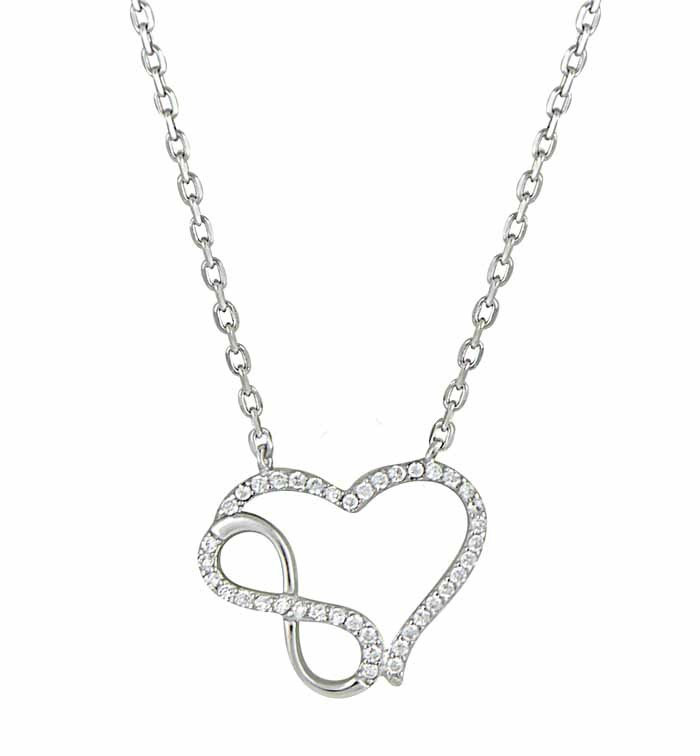 Infinity and Heart Silver Necklace