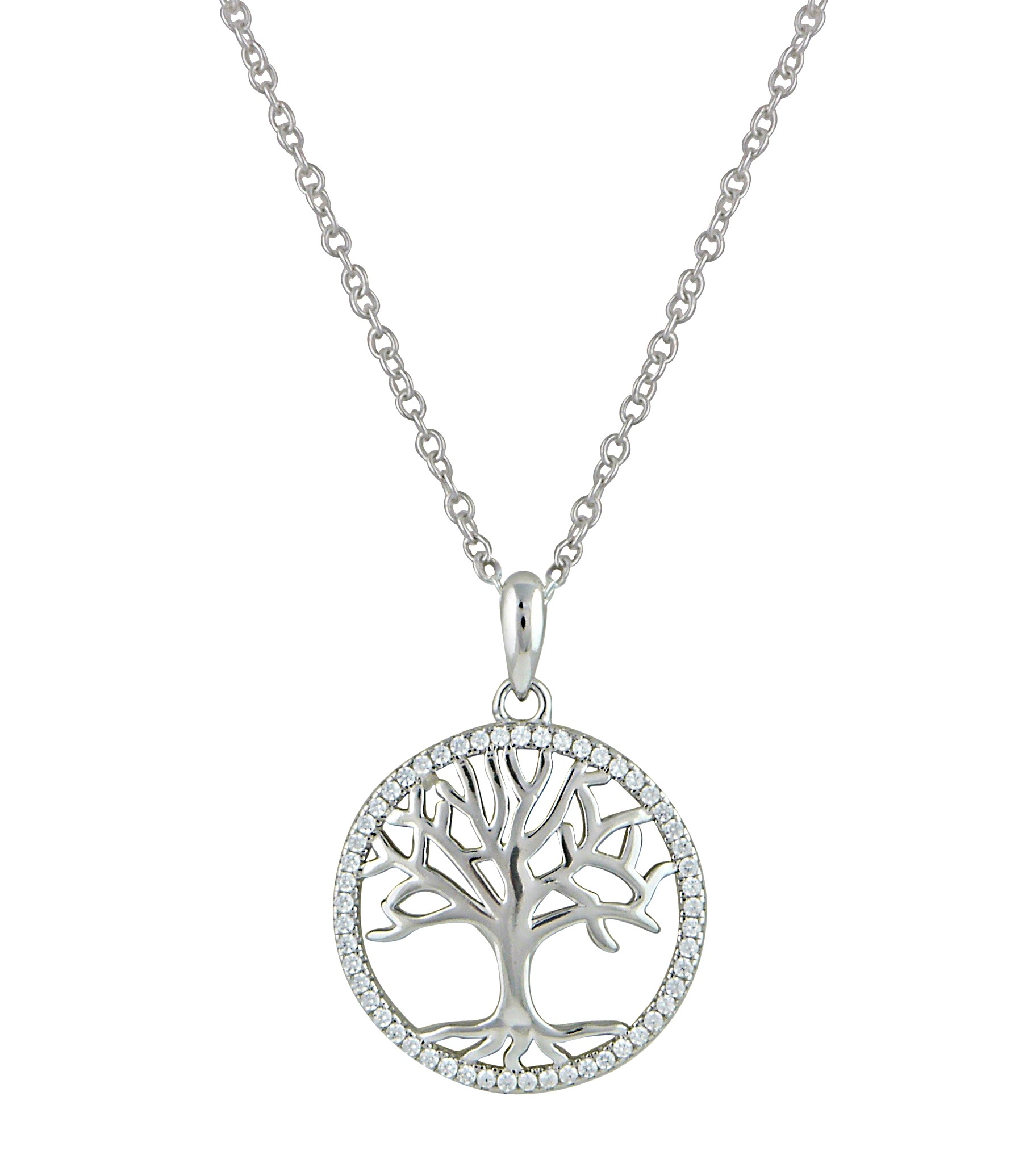 Tree of Life and Cubic Zirconia Silver Necklace