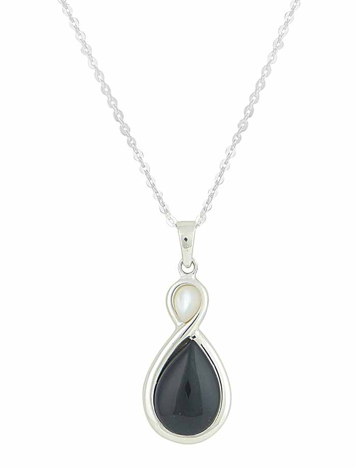 Infinity Pendant with Mother of Pearl and Black Onyx