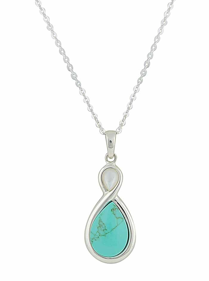 Infinity Pendant with Mother of Pearl and Turquoise