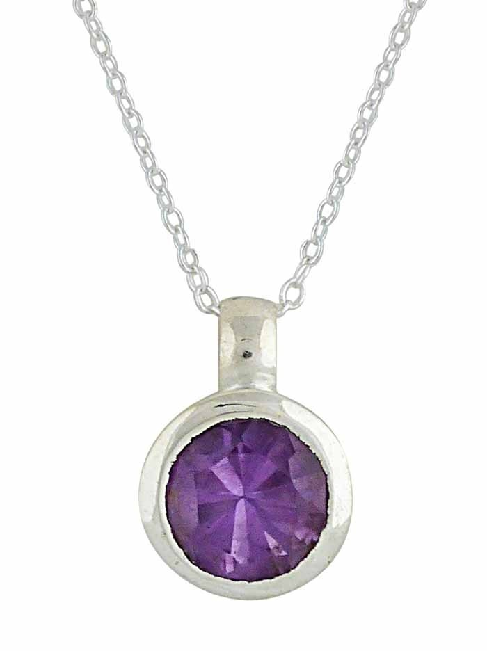 Round Small Faceted Amethyst Silver Necklace