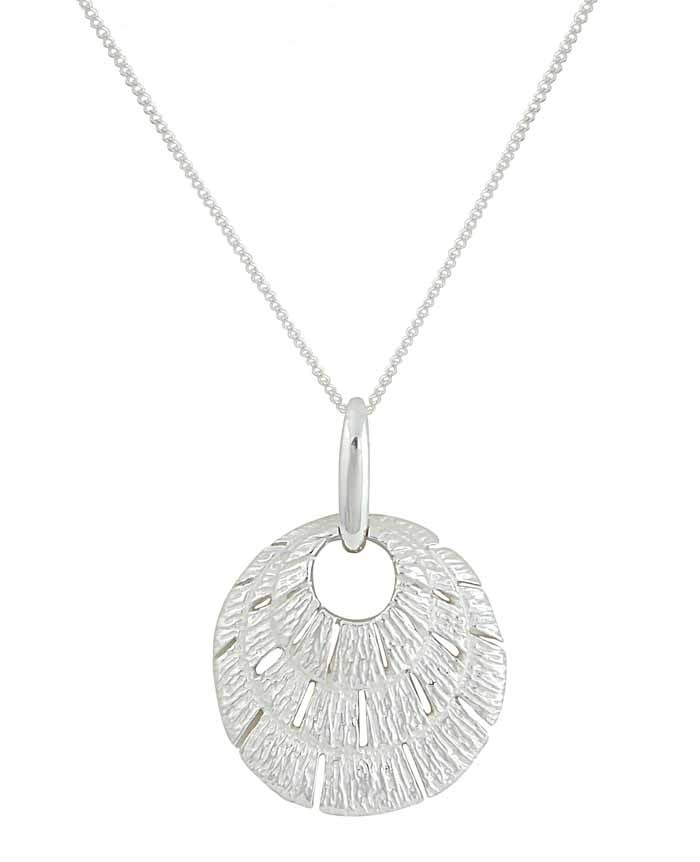 Three Tier Textured Disc Silver Necklace