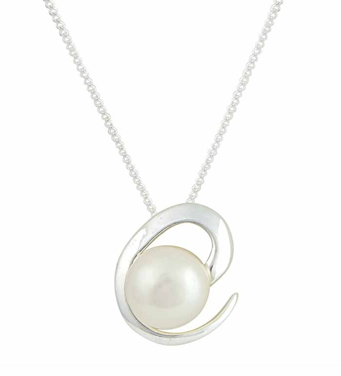 Abstract Open Circle and Single Freshwater Pearl Silver Necklace