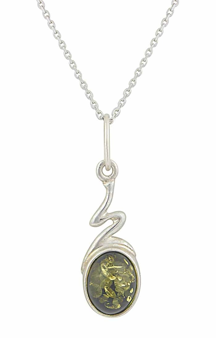 Green Amber Oval Silver Necklace