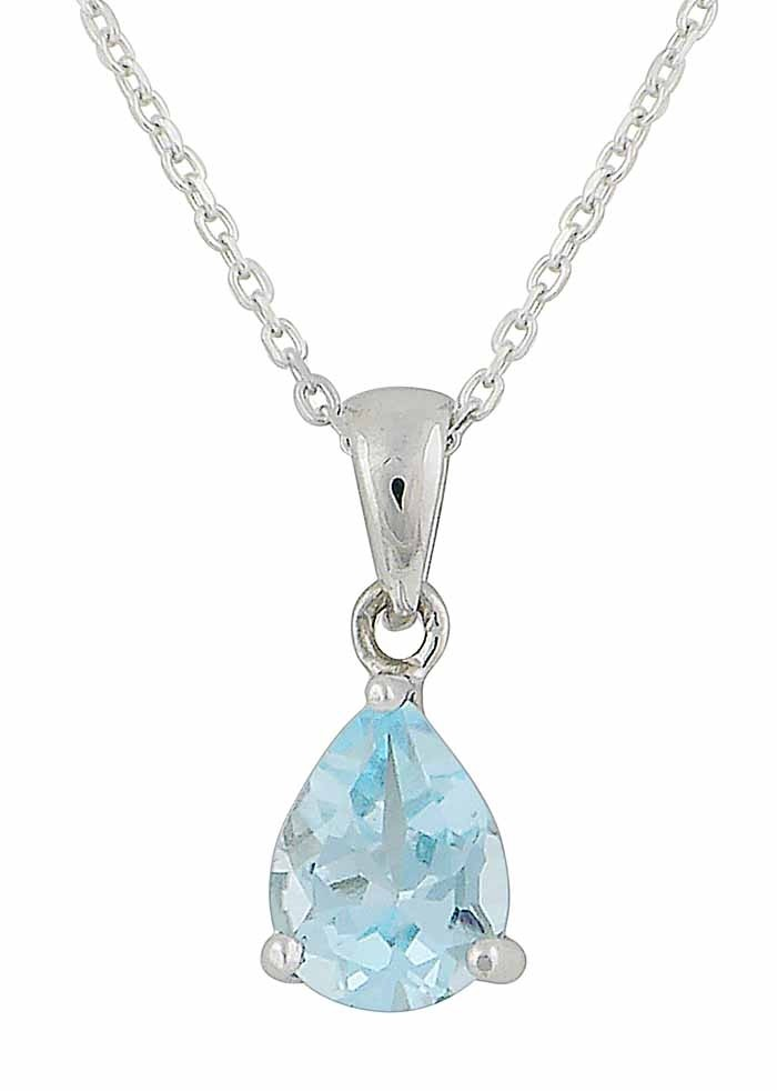 Sky Blue Topaz Teardrop Silver Necklace