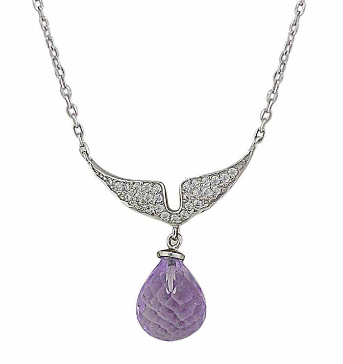 Angel Wing and Amethyst Silver Necklace