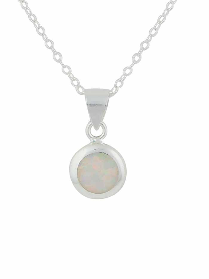 Circular White Opal Silver Necklace