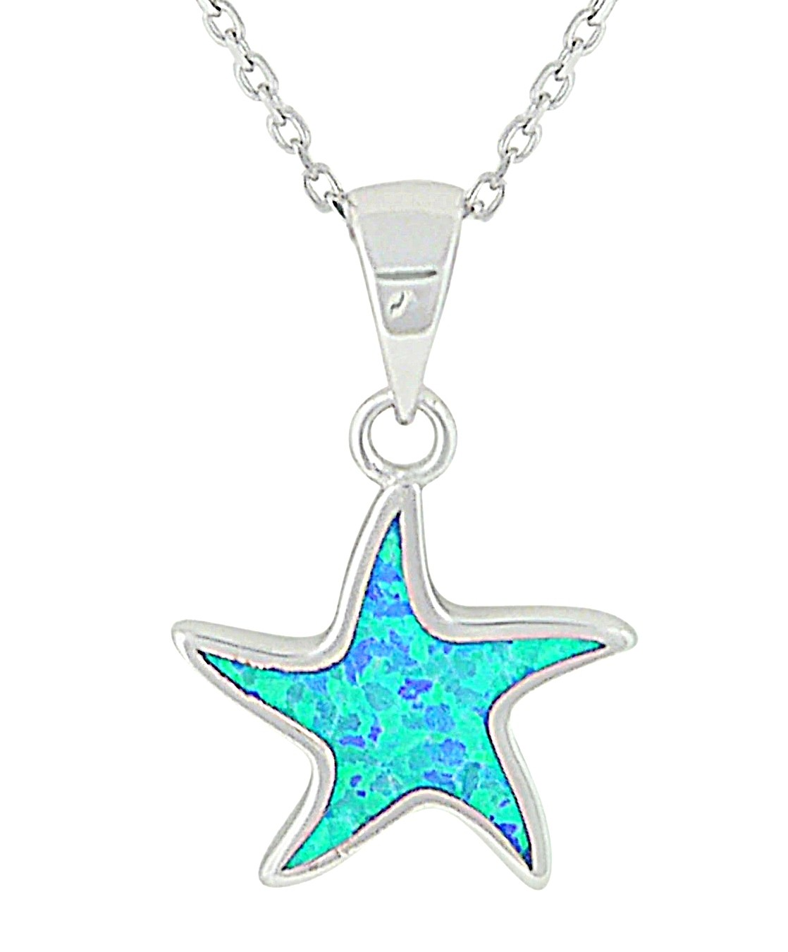 Small Starfish Blue Opal Silver Pendant