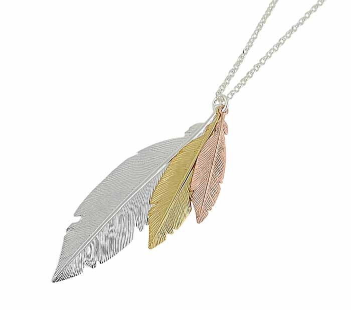 Trio of Feather Long Silver Necklace