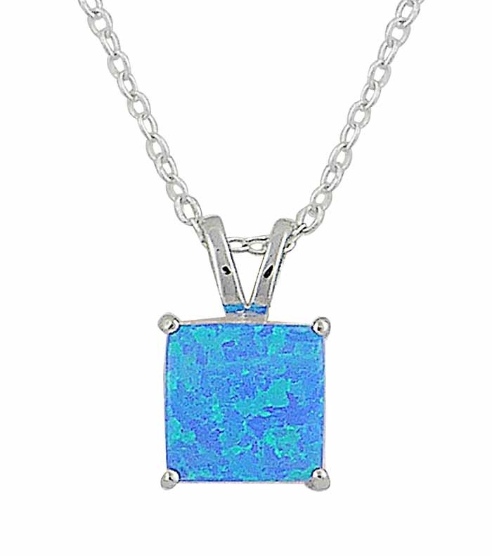 Small Square Blue Opal Silver Necklace